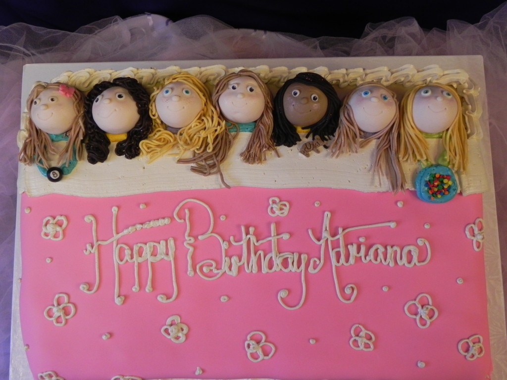 sleep over cake, slumber party cake,little girl's slumber party