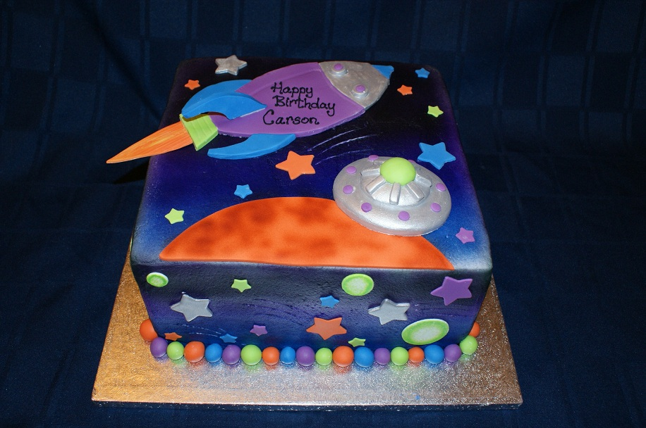 Birthday cake deborah s specialty cakes for Outer space cake design