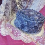 purple buttercream, rosettes