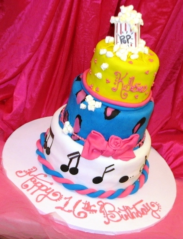 blue and pink leopard print,musical notes,popcorn bag 3-D